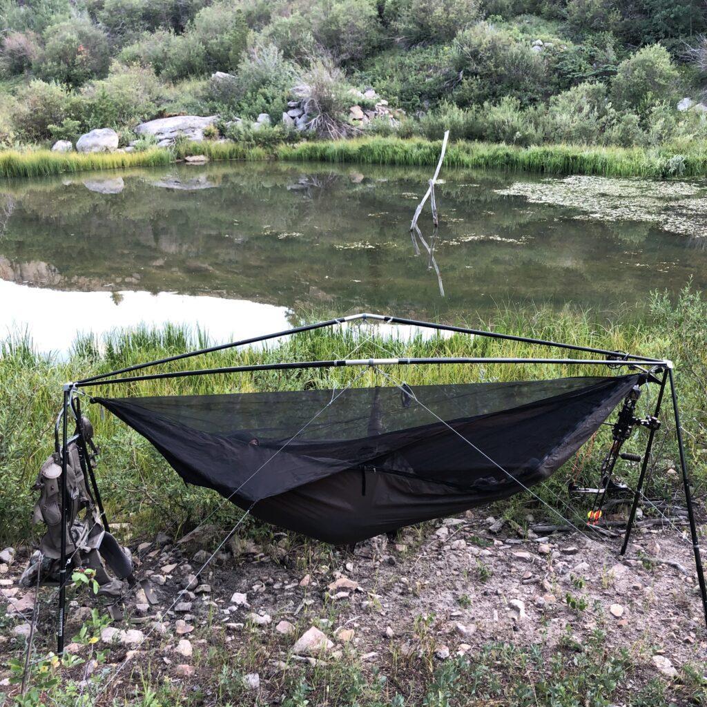 Hammock stand hunting camp setup